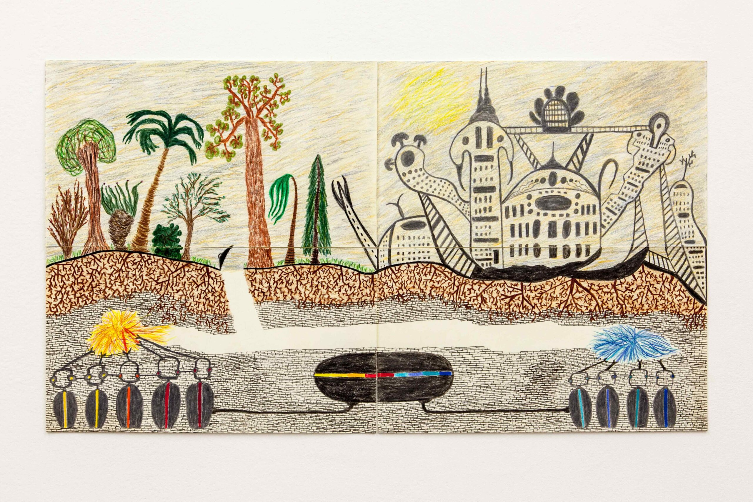 A hot summer in California , crayon on paper, 64 x 35 cm, 2020