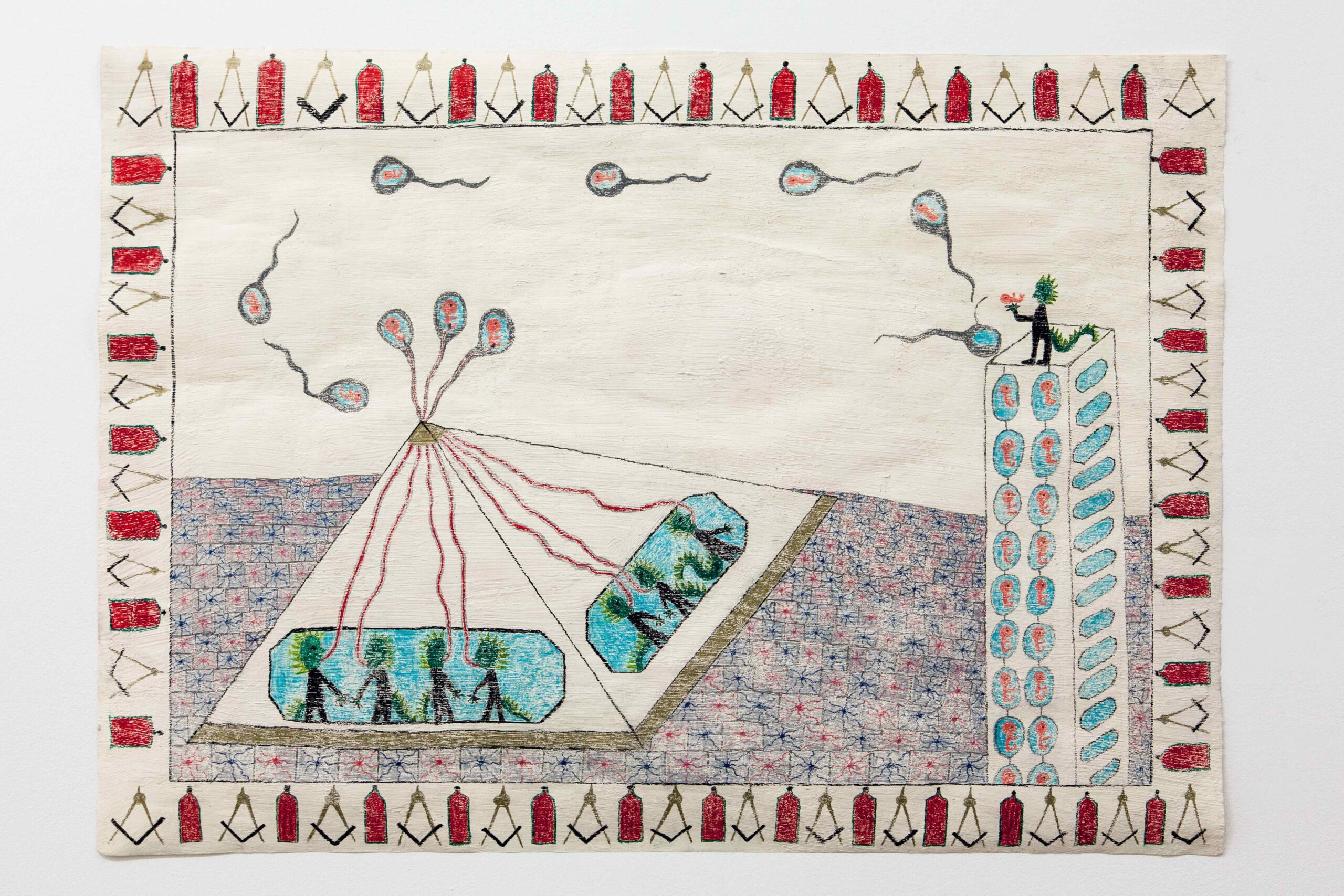 Conspiracy series: Reptilian elite, Crayon, Acrystal on Paper, 85 x 60 cm, 2021